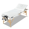Zenses Massage Table Wooden Portable 3 Fold Beauty Therapy Bed WHITE