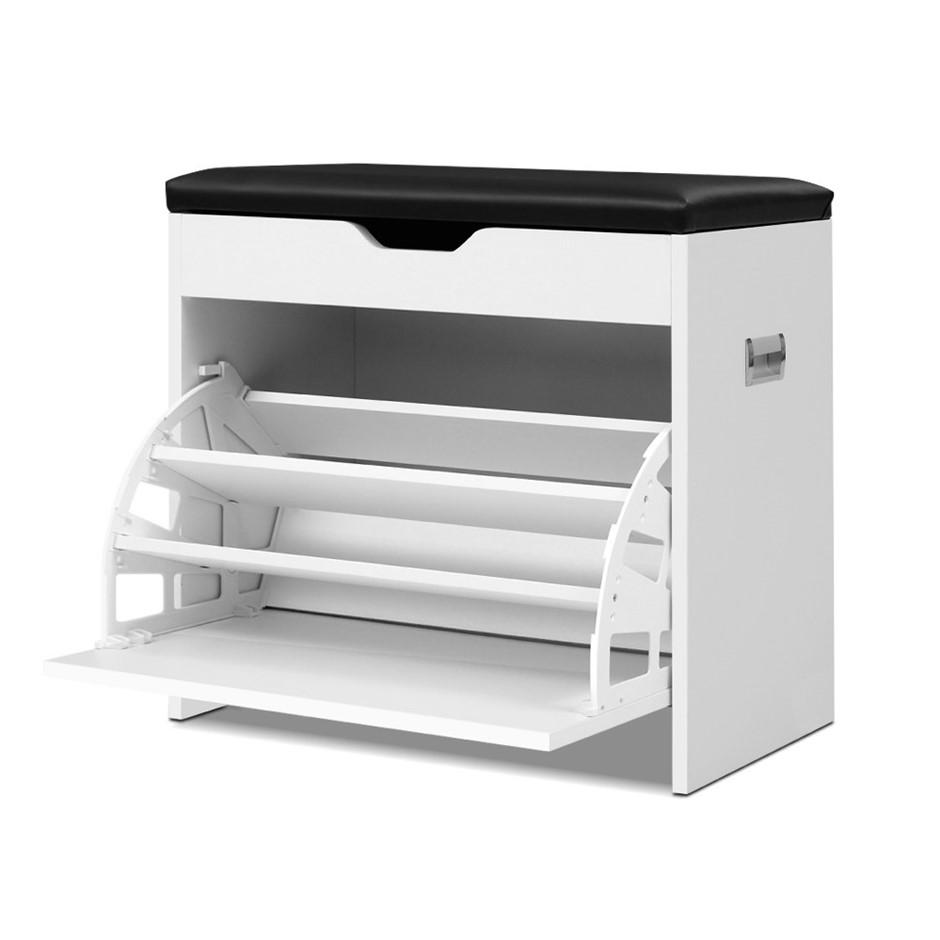 Artiss Shoe Cabinet Bench Organiser Storage Rack Cupboard White 15 Pairs