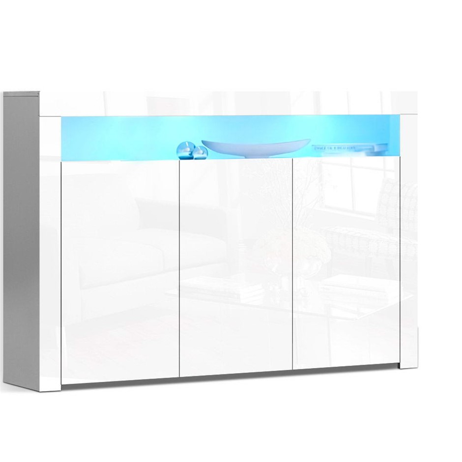 Artiss Buffet Sideboard Cabinet Storage LED High Gloss Cupboard 3 Doors