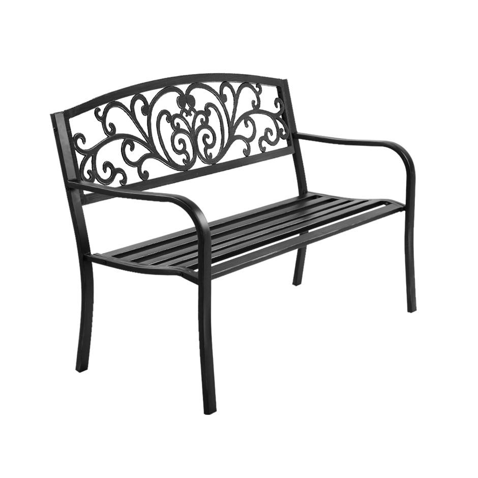 Garden Bench Seat Outdoor Chair Steel Iron Patio Furniture Vintage Gardeon