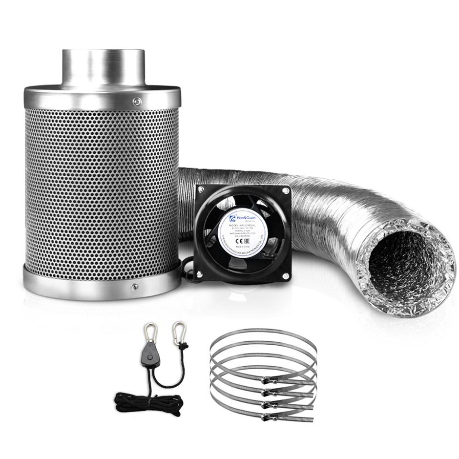 "4"" Hydroponics Grow Tent Ventilation Kit Carbon Filter Duct Ducting"