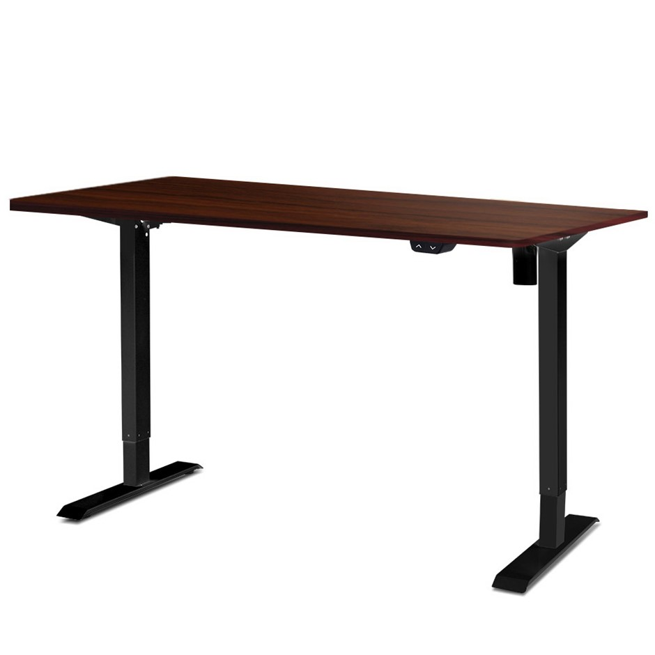 Artiss Motorised Electric Height Adjustable Standing Desk Black Walnut
