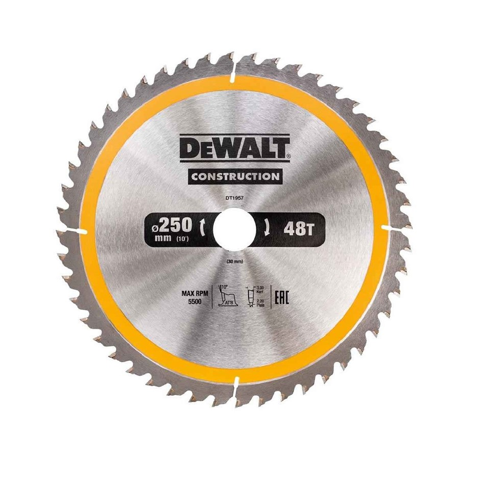 DeWALT Construction Saw Blade 250mm x 30mm x 48 Teeth (SN:DT1957-QZ) (26872