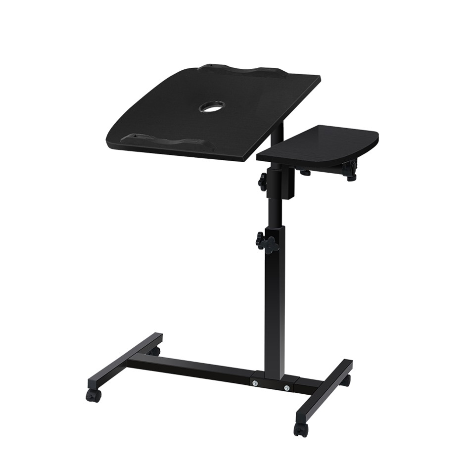 Rotating Mobile Laptop Adjustable Desk with USB Cooler Black