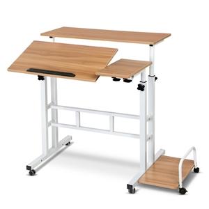 Mobile Twin Laptop Desk Light Wood