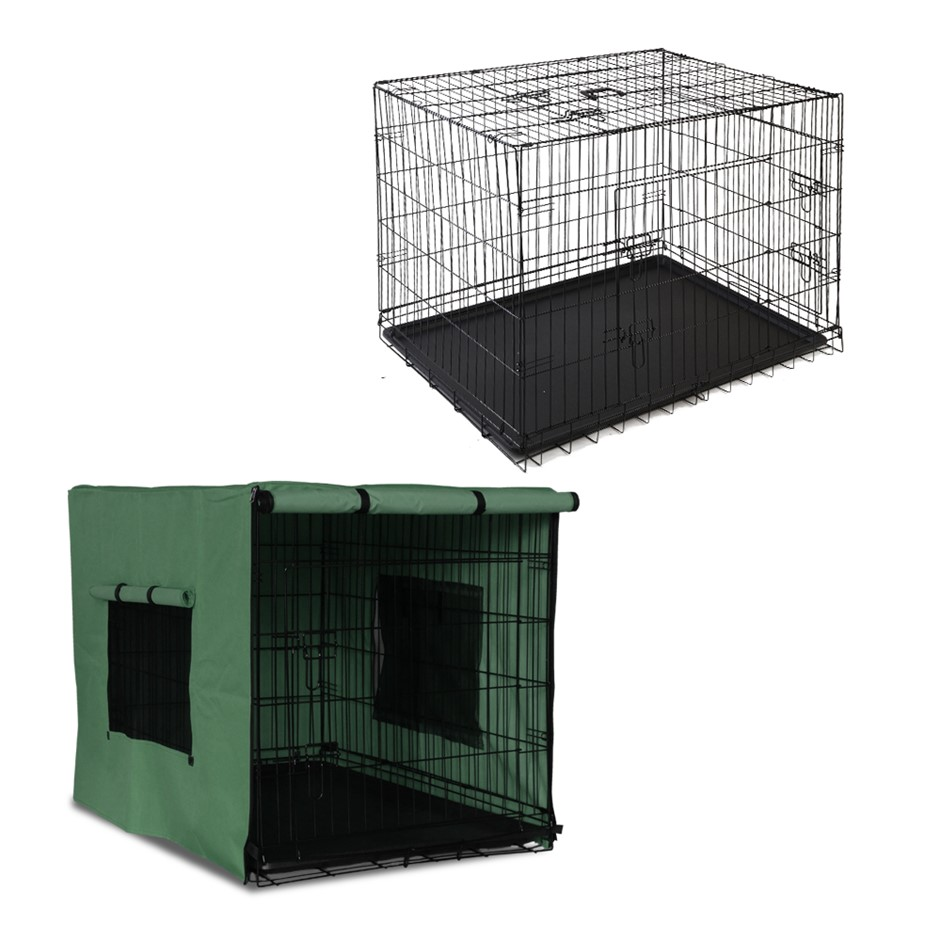 i.Pet 48inch Collapsible Pet Cage with Cover - Black & Green
