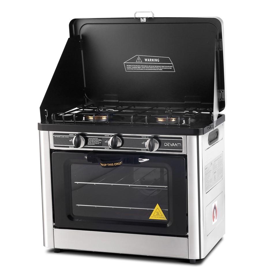 Devanti 3 Burner Portable Oven - Silver & Black