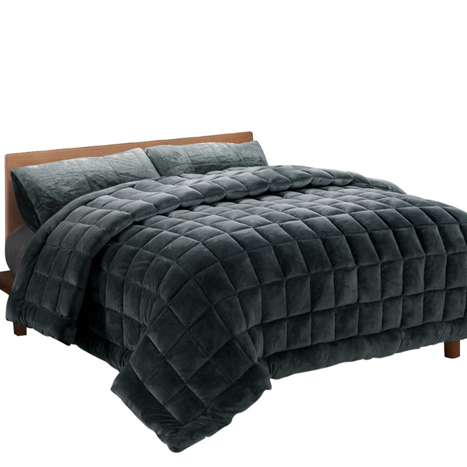 Giselle Bedding Faux Mink Quilt Comforter Fleece Throw Charcoal Super King