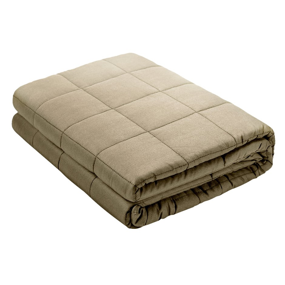 Giselle Bedding Cotton Weighted Blanket Heavy Gravity Sleep Adult 5KG Brown