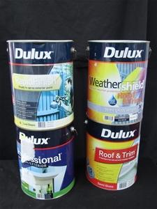Qty 4 x Dulux 10 Litres Assorted Paint