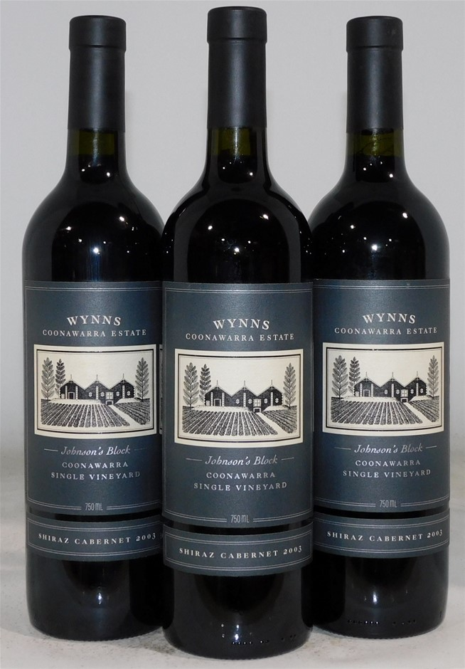 Wynns Estate Johnson's Block Shiraz Cabernet Blend 2003 (3x 750mL), SA.