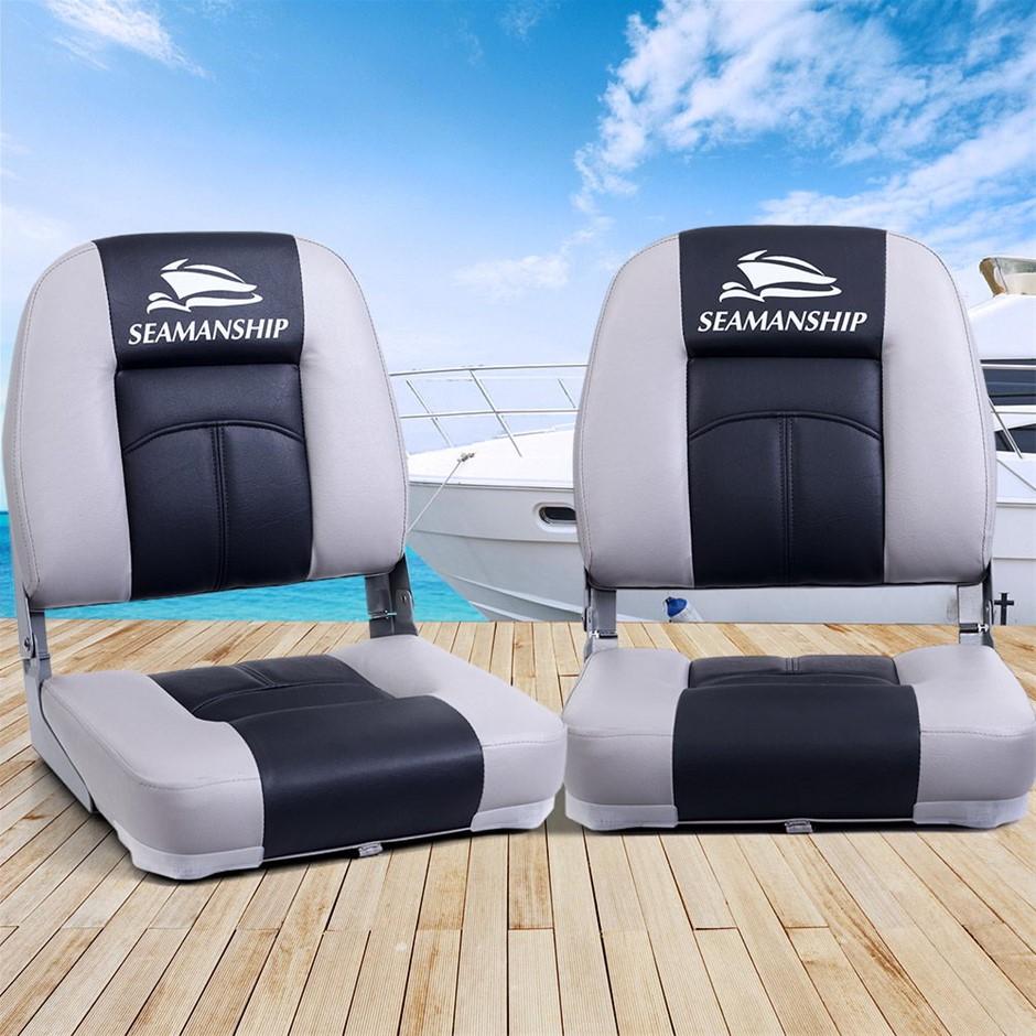 Seamanship 2X Folding Boat Seats Marine Seating Set Swivels All Weather