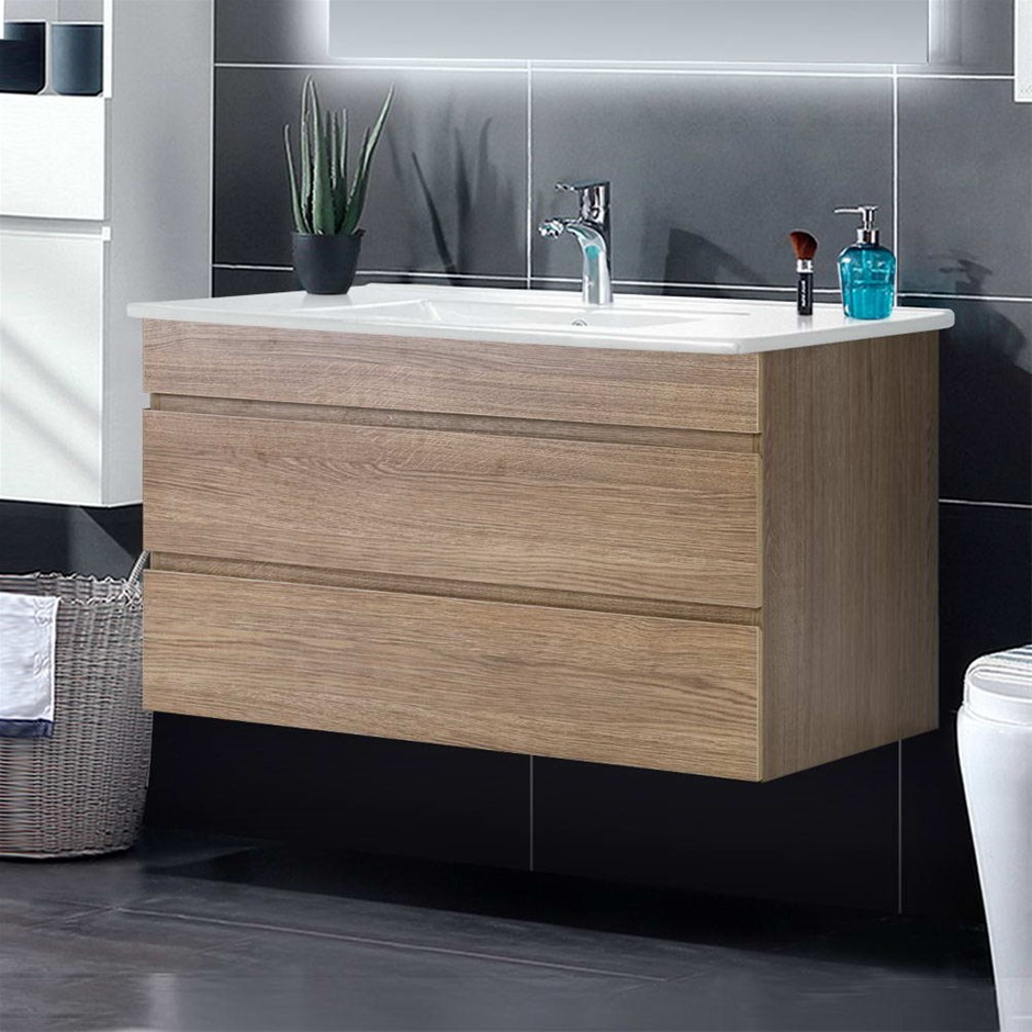 Cefito Bathroom Vanity Cabinet Basin Unit Sink Wall Hung Oak White 900mm