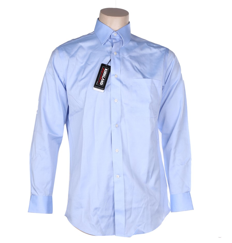 SIGNATURE Men`s Custom Fit Non-Iron Dress Shirt, Size 39- 81/84, 100% Cotto