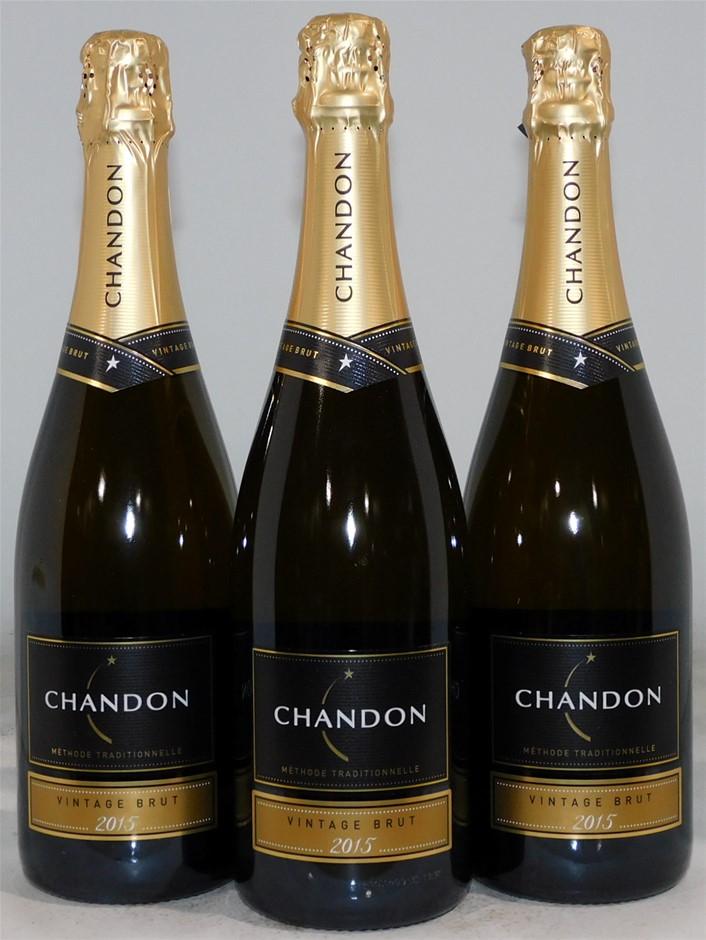 Domaine Chandon Vintage Brut Pinot Noir Chardonnay 2015 (3x 750mL), Aus.