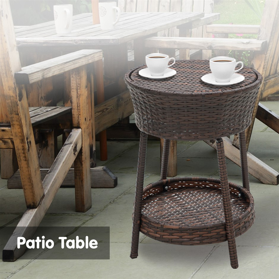 Rattan Outdoor Cooler Table Mini Bar Ice Cool Coffee - Brown