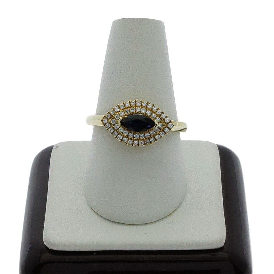 9ct Yellow Gold, 0.53ct Blue Sapphire and Diamond Ring