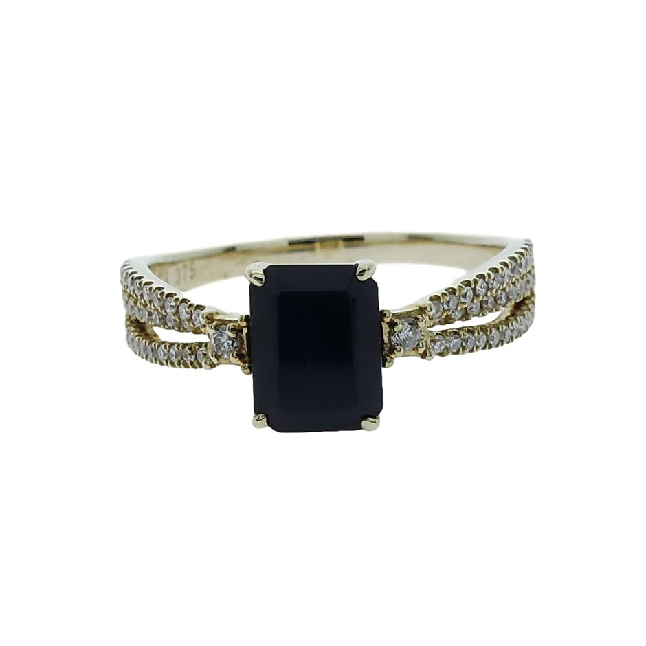 9ct Yellow Gold, 2.47ct Blue Sapphire and Diamond Ring