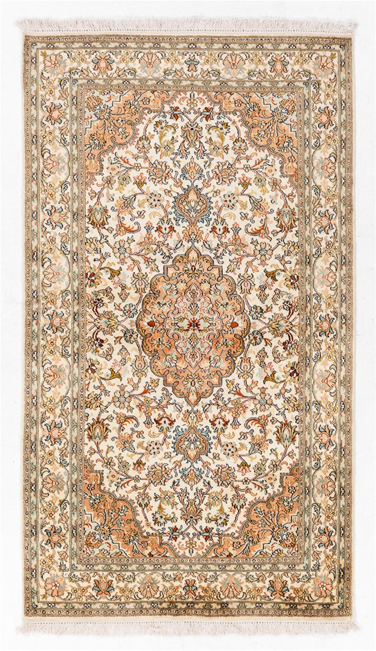 Kasmiri Hand Knotted Pure SILK PILE Hand Knotted floor rug SIZE(cm): 90x160