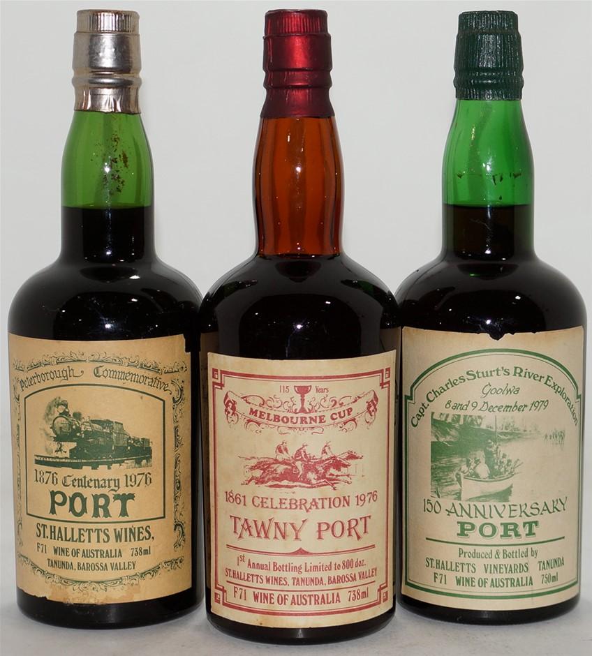 Pack of assorted St Hallett Vintage Port (2x 738mL/1x 750mL), Barossa. Cork