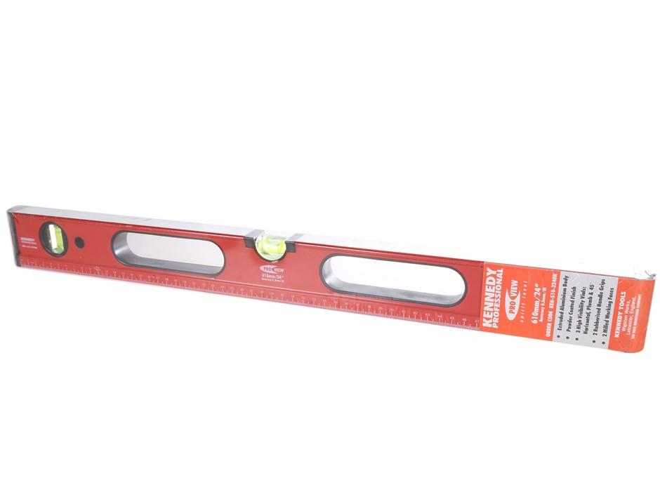 KENNEDY 610mm Pro View Aluminium Spirit Levels, 3 x Vials, Rubberised Handl