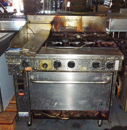Goldstein PF12G428FF 4 Burner and Plate Gas Range and Fan Forced Oven