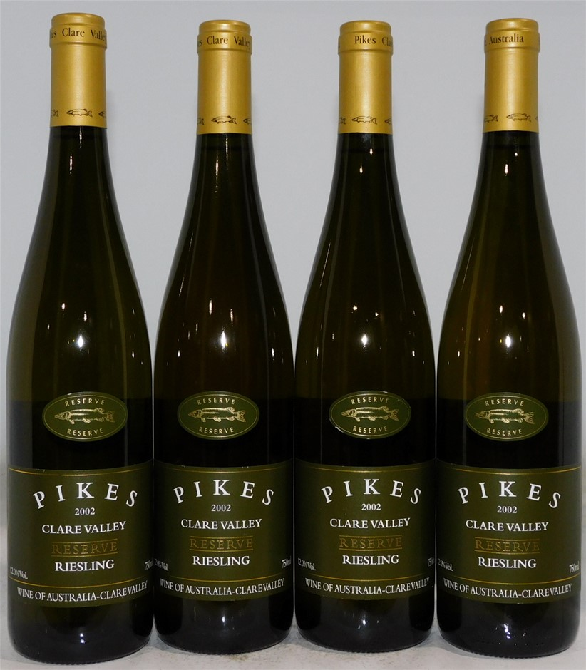 Pikes `Clare Valley` Reserve Riesling 2002 (4x 750mL) Clare Valley, SA