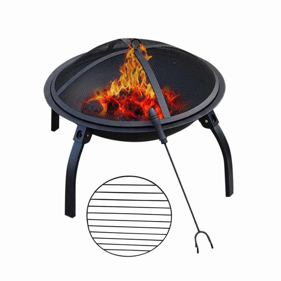 SOGA 2 in 1 Outdoor Portable Fold Fire Pit BBQ Grill Patio Fireplace 56cm