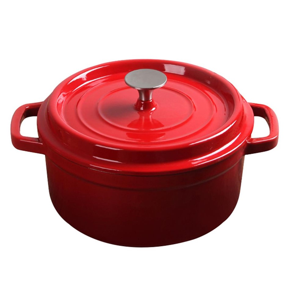 SOGA Cast Iron 26cm Enamel Porcelain Stew pot Casserole Stew & Lid 5L Red