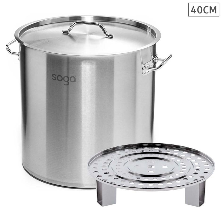 SOGA 40cm Stainless Steel Stock Pot with One Steamer Rack Insert Tray