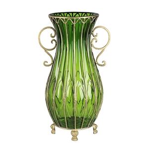 SOGA 50cm Green Glass Oval Floor Vase wi