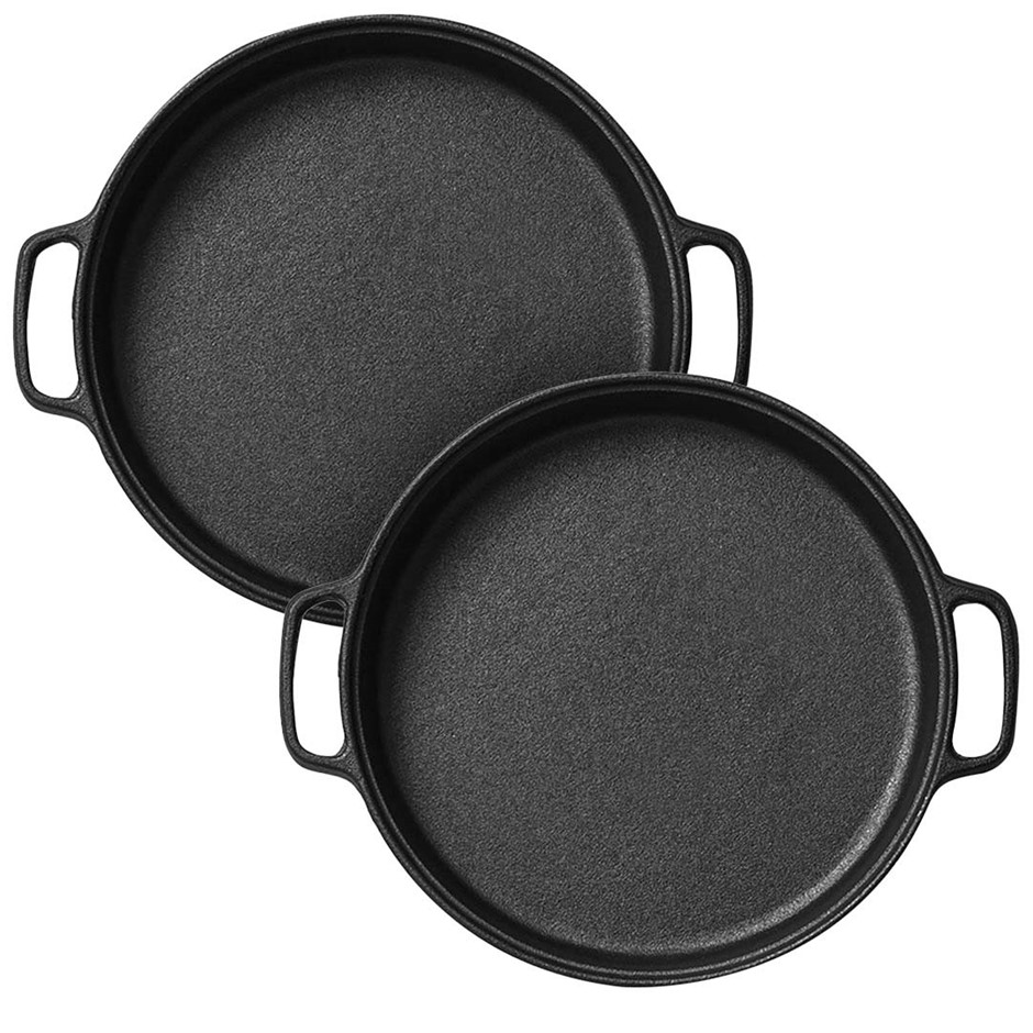 SOGA 2x Cast Iron 35cm Frying Pan Skillet Non-stick Coating Steak Sizzle