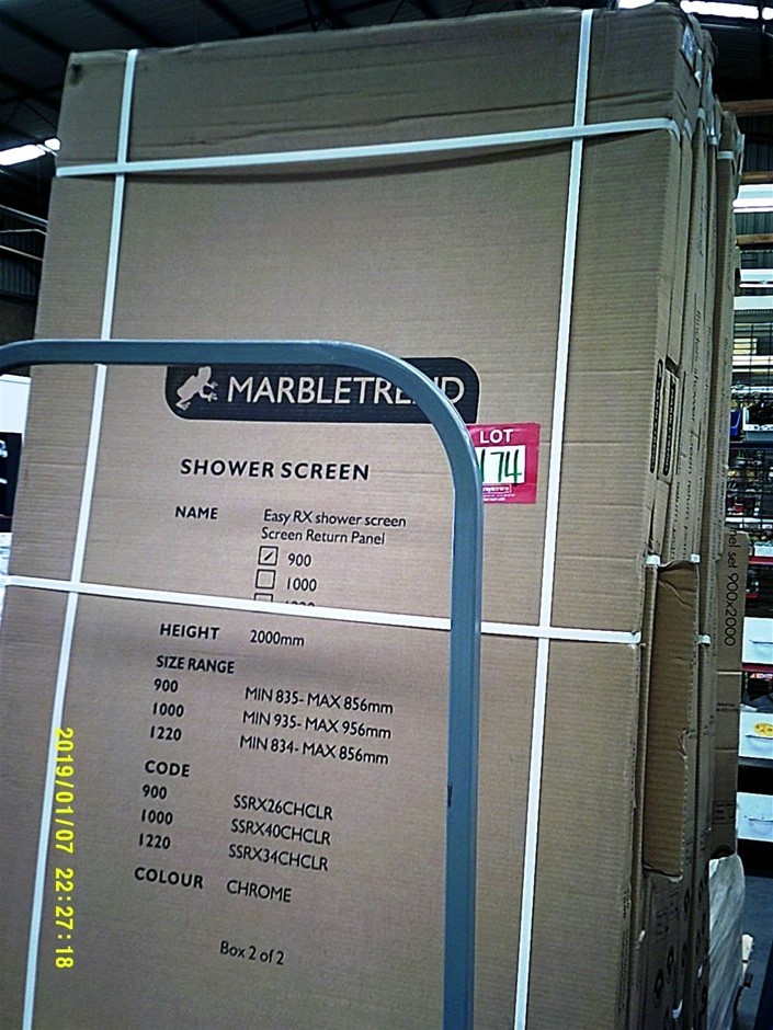 Marbletrend Easy Rx 900 shower screen return panel. 1000mm x 2000mm. New in
