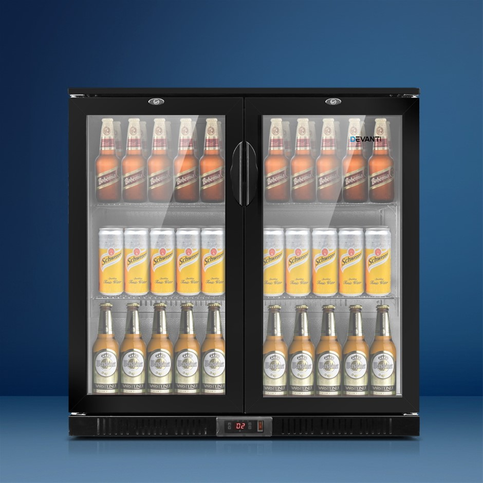 Devanti Bar Fridge 2 Glass Door Commercial Display Beverage Black