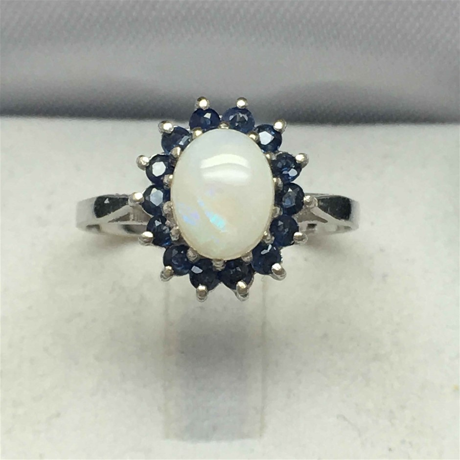 Ring Silver Opal and Blue Sapphire