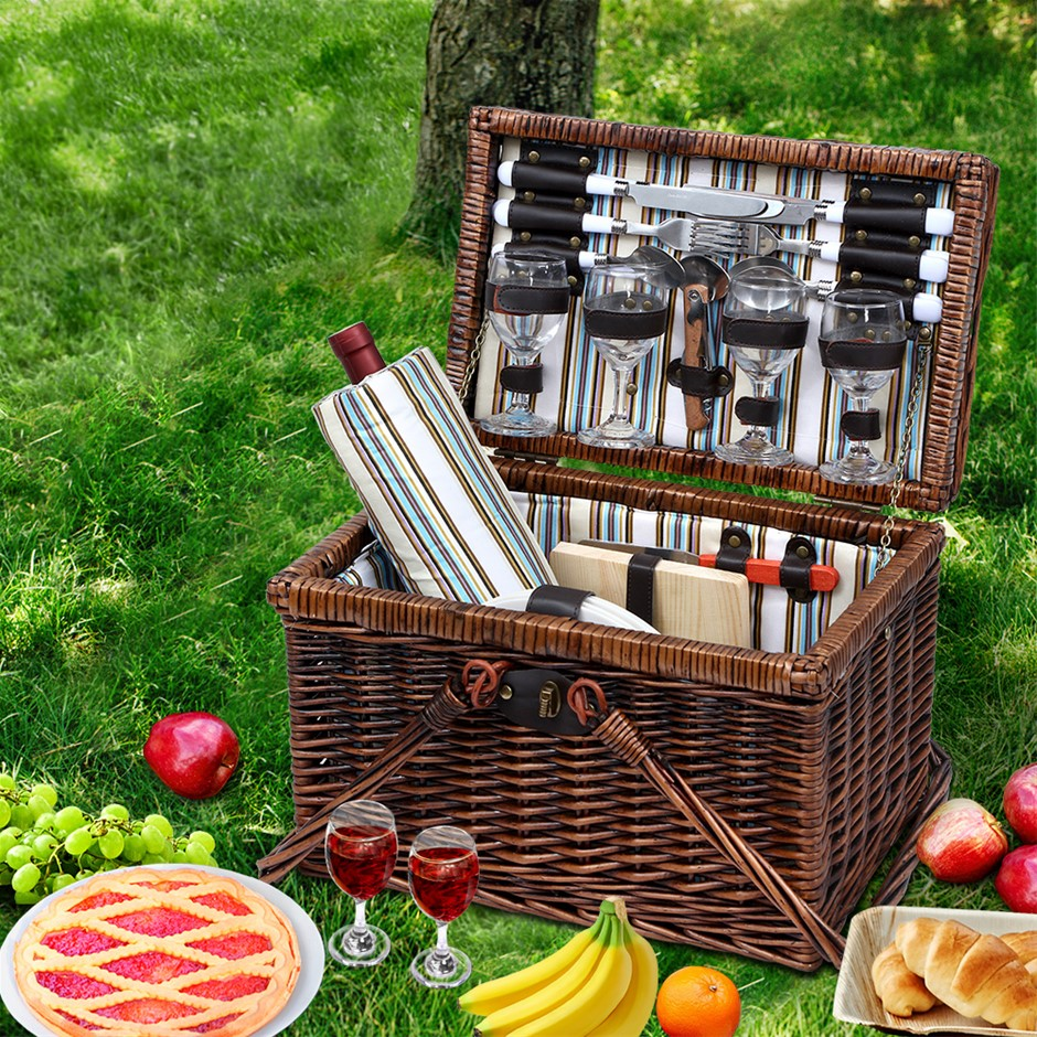 Alfresco Deluxe 4 Person Picnic Basket Set Outdoor Insulated Liquor bag