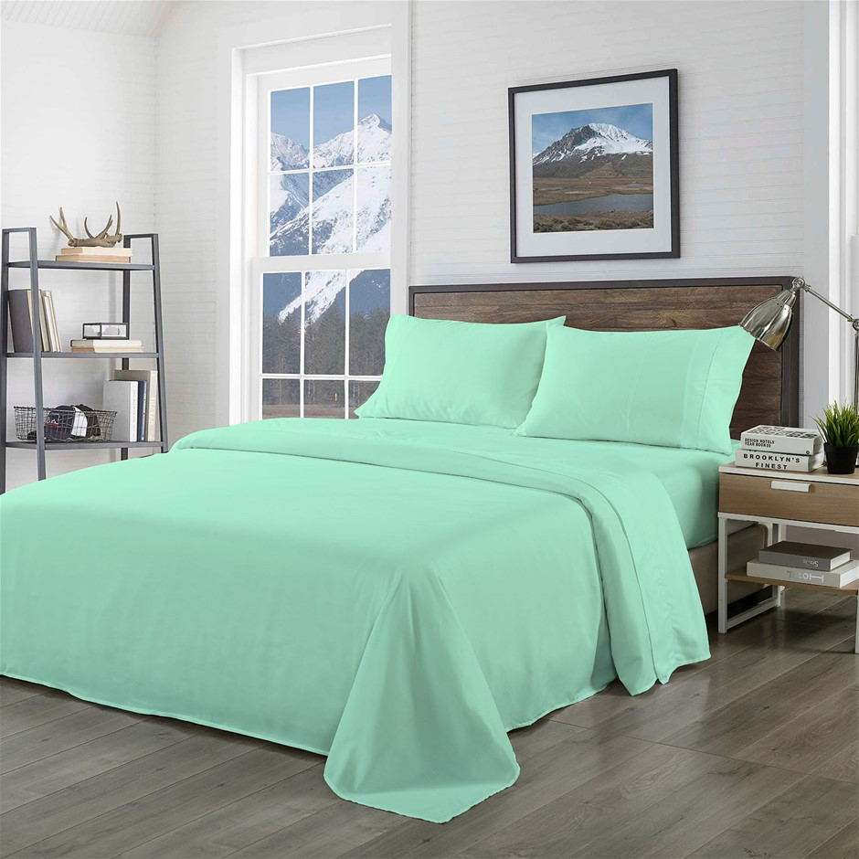 Royal Comfort Bamboo Blended Sheet Set Green Mist - Queen