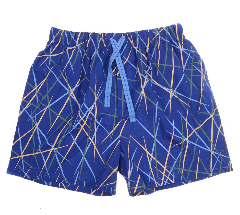GLOSTER Men`s Pyjama Shorts, Size L, 100% Cotton, Blue w/ Leaf Print. Buyer