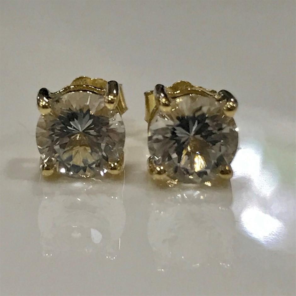 "Solid 9K Gold ""Killiecrankie Diamonds"" 2ct( Flinders Island Topaz) Earrings"