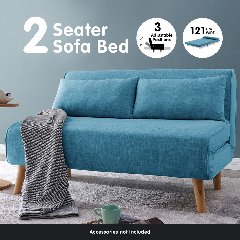Sarantino Sofa Bed Lounge Faux Linen Fabric Blue