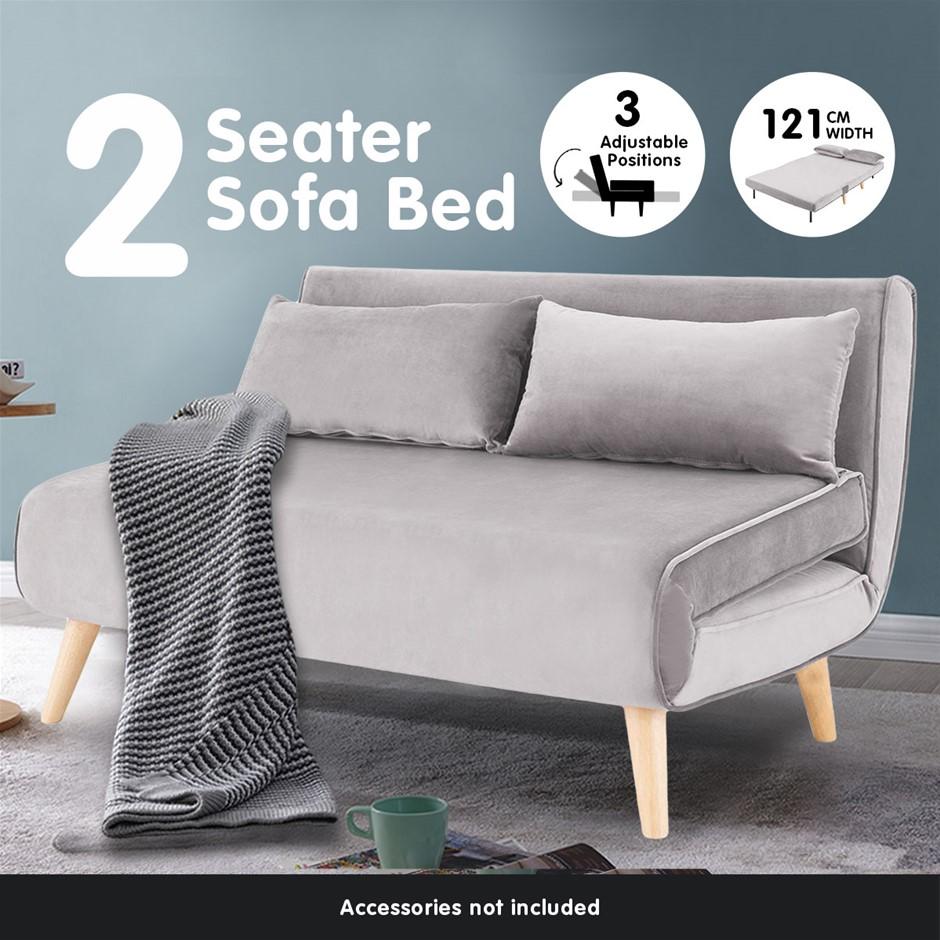 Sarantino Sofa Bed Lounge Faux Velvet Fabric Light Grey