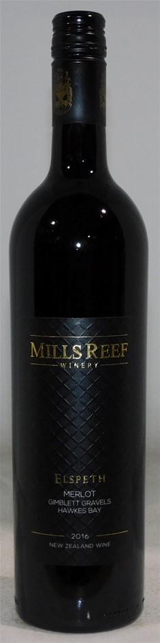 Mills Reef Winery Elspeth Merlot 2016 (1x 750mL) Hawke's Bay, NZ