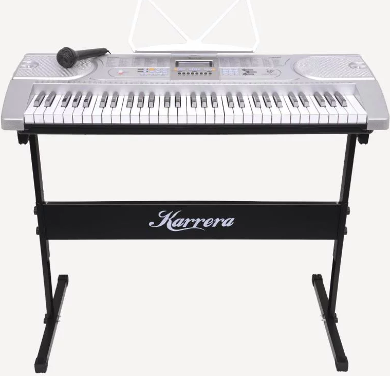61 Keys Electronic Keyboard with Stand - Silver