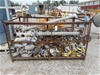 <B>Wire stillage containing galvanized pipe sections + elbows with Clamps a