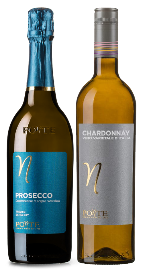 Ponte Prosecco DOC NV and Chardonnay mixed pack (6x 750mL). Italy.