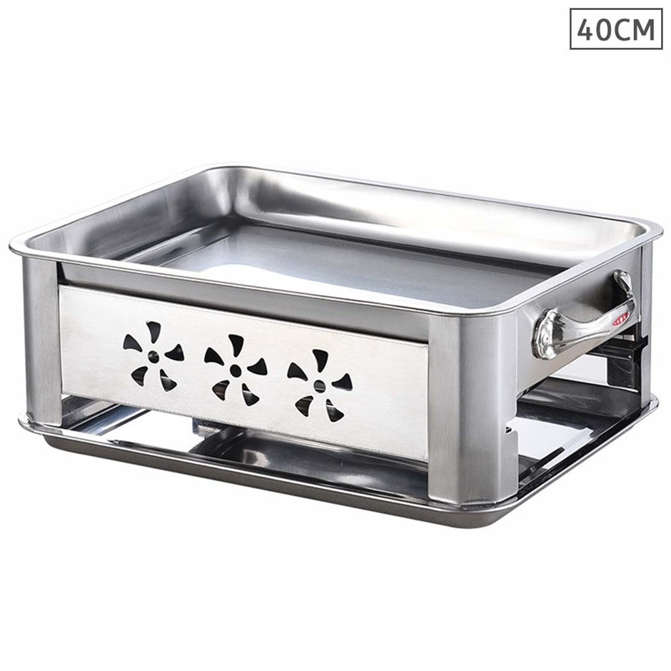40cm Portable Stainless Steel Outdoor Chafing Dish BBQ Fish Stove Grill