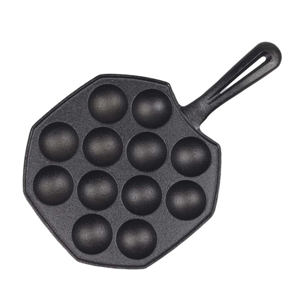 SOGA 18CM Cast Iron Non Stick Takoyaki Fry Pan Octopus Balls Maker