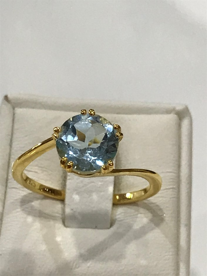 Brilliant 2.00ct Blue Topaz & 18K Gold Vermeil Ring. Size P 1/2 (8)