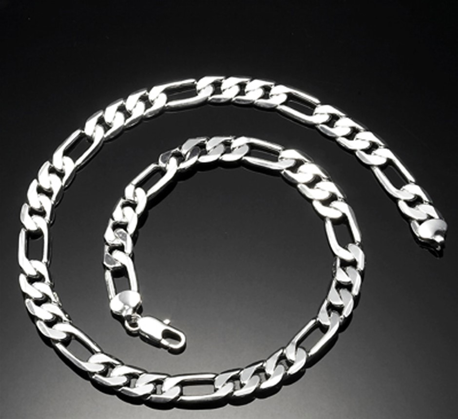 Men's silver plated figaro necklace & bracelet