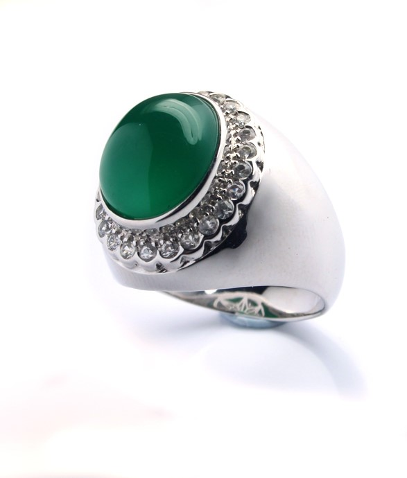 Dyed green Chalcedony Men's Silver Ring